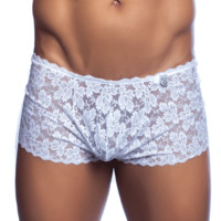 Male Basics MBL01 Men's Lace Boxer Short White