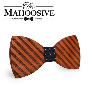 Mahoosive Gravata Plaid Wood Bow Tie For Man Wedding Butterfly Design Necktie Cheery Wooden Bow Ties