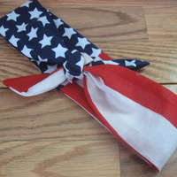 Bandana Headband, Tie Up Hair Bands, Vote2016, Olympics 2016, American Flag, Boho Patriotic, Hair Scarf, Red White and Blue #265