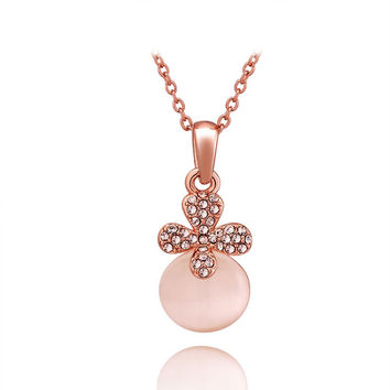 Rose Gold Plated Trio-Stud Coral Necklace