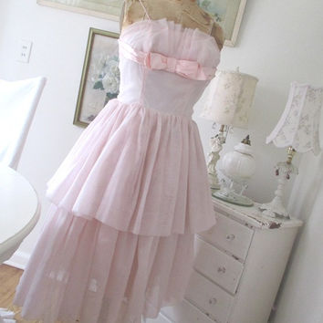 Vintage Pink Dress Shabby Chic Wedding Prom Bridesmaid