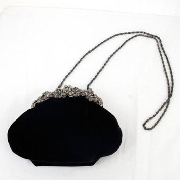 Hillard and Hanson Black Velvet Purse Evening Handbag Clutch Wedding Long Strap