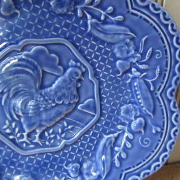 Vintage Blue China Plate Made in Portugal Rooster and Sweet Peas