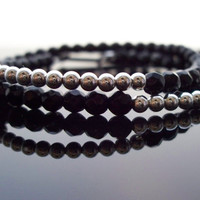 Beaded Friendship bracelet Faceted Onyx beads Sterling Silver adjustable Greek leather closure, Yoga bracelet, perfect for Stacking