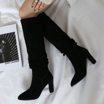 Suede Knee High Boots For Women