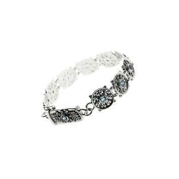 Dharmachakra Noble Truth Sterling Silver & Blue Topaz Bracelet