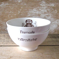 Namaste Baby Sloths, Meditating Sloth Cereal Bowls, Pair of Recycled Bowls, DISCOUNTED SECOND, Ready to Ship