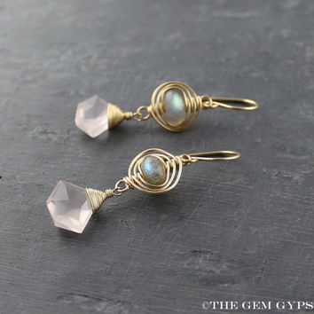 Gold Herringbone Rose Quartz Earrings with Labradorite. Labradorite Earrings. Petite Rose Quartz Earrings. Wire Wrapped Labradorite Earrings