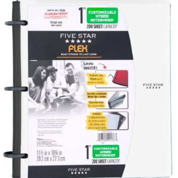 Five Star Flex NoteBinder, 1-Inch Capacity, Customizable Cover, 11.5 x 10.75 Inches, Notebook and Binder All-in-One, White (72520)
