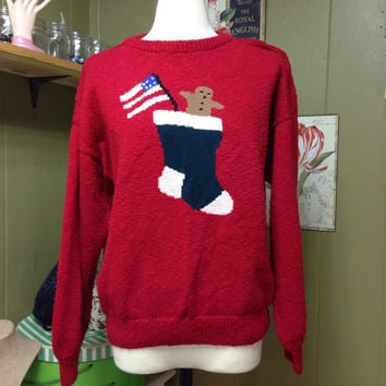 Vintage Ugly Christmas Sweater Size Medium Free Shipping