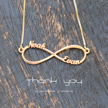 laser cut, 14k gold plated Infinity Necklace, Personalized gifts with Two Personalized Names
