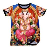Men T Shirts New Style Fashion Ganesha Elephant Printed T-shirts Funny Design O Neck Tee Top