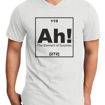 Ah the Element of Surprise Funny Science Adult V-Neck T-shirt by TooLoud