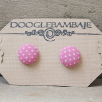 Pink Baby Doll Design - White with Pink Dots Fabric Button Stud Post Earring- Wedding Bridesmaids Gift