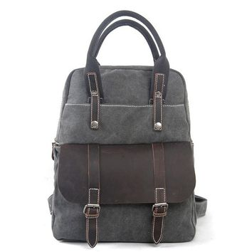 BLUESEBE UNISEX WAXED CANVAS WITH LEATHER TRIM BACKPACK 1022