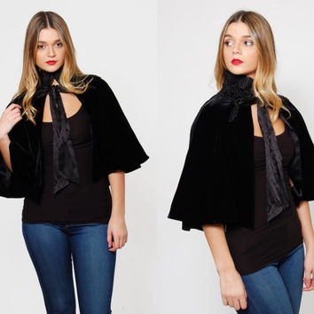 Vintage 80s VELVET Capelet Black Velvet Cape BEADED Cape Goth Top Victorian Style Holiday Shrug