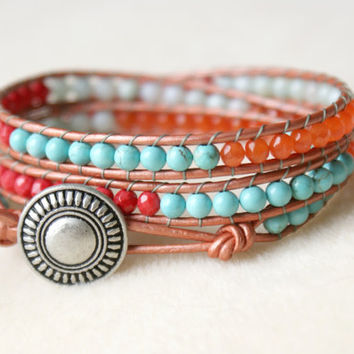 Coral And Turquoise Bohemian beaded leather triple wrap bracelet, Chan Luu Style, trendy, amazonite, blue, white, red, orange, cats eye