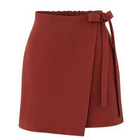 Red Elastic Waist Side Tie Asymmetric Hem Mini Skirt