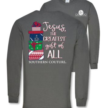 Southern Couture Preppy Christmas Greatest Gift Jesus Holiday Long Sleeve T-Shirt