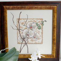 Completed Embroidered painting White Oriental Orchids art embroidery handmade tapestry home decor cross stich green brown beige bronze east