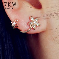 17KM Brand New Rose Gold Color Crystal Flower Earrings Luxury Double Sided Stud Earring joyeria Maxi brincos Women Earrings Gift