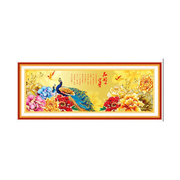 Diamond Painting Fortune comes with blooming flowers Peacock Diamond Stitch Living Room Cross Stitch Diamond Paste