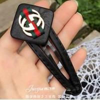 GUCCI minimalist leather red and green BB clip folder fashion bangs folder hairpin  Red