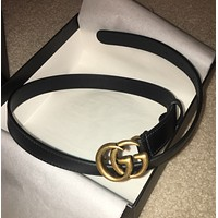 NWT Gucci Skinny Black Leather Belt w/ Double G Buckle - Size 70