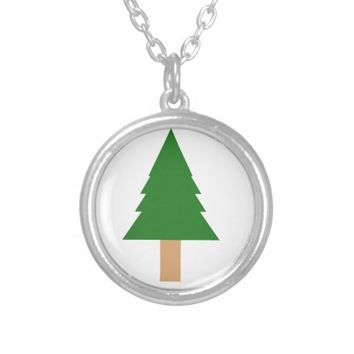 Christmas Tree Design Silver Plated Necklace
