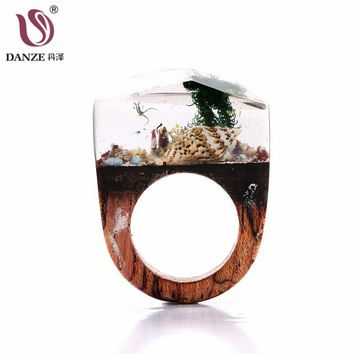 Danze Vintage Handmade Resin Wood Rings Magic Forest Wooden Ring For Women Men Clear Dried Flower Ring Wedding Jewellery Bijoux