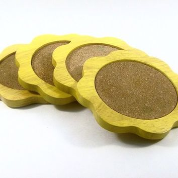 Yellow Daisy Drink Coasters by simplychi on Etsy