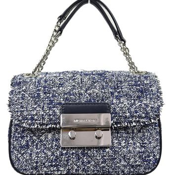 Michael Kors Women's Sloan Boucle Tweed Quilted Small Shoulder Bag Admial Navy