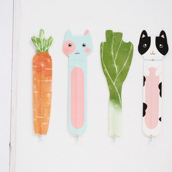 Countryside Vegetables Reading Cat Cartoon Animals Paper Bookmark With Pen Promotional Gift Stationery Film Bookmark