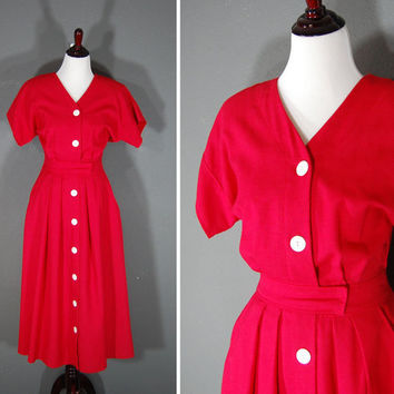 Vintage 1980's House Dress / Red / Size 8 Tall