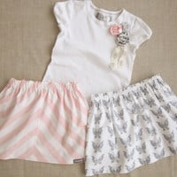 Pink Stripe & Gray Butterfly Girls Skirts and Matching Rosette Embellished Tee 3 Pc Outfit - 6m, 12m, 18m, 2T, 3T, 4T, 5, 6, 7/8, 9/10