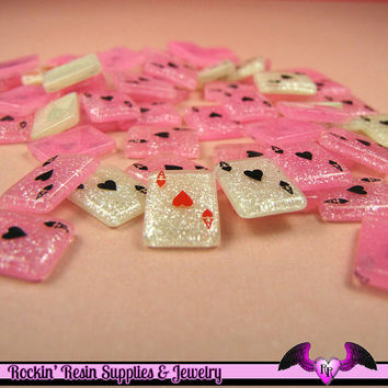 9 Pcs GLITTER PLAYING CARDS Aces Small Decoden Flatback Resin Cabochons 13x10mm