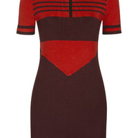 **Stripe Knitted Dress by Unique - Burgundy