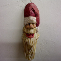 Hand carved Santa Claus Christmas ornament collectible wood carving OOAK holiday decorations hand made in Wisconsin by Old Bear Woodcarving