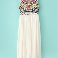 Aztec print maxi chiffon dress