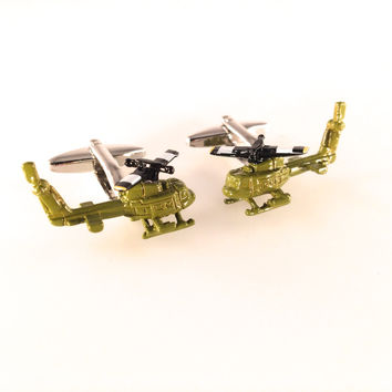 Helicopter Cufflinks, Air Force Cufflinks, Men's Cuff Links, Wedding Cuff Links, Father's Day, Graduation Gift