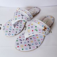 LV Louis Vuitton Trending Women Casual Colorful Print Flat Sandal Slipper Shoes White