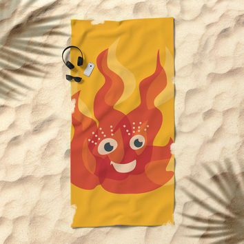Happy Burning Cartoon Fire Beach Towel by borianagiormova