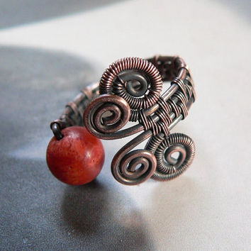 Coral copper ring, wire wrapped ring, natural jewelry