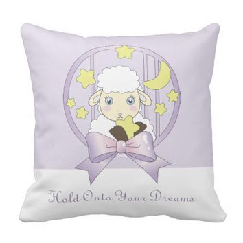 Hold Onto Your Dreams - Cute Lamb, Moon, and Stars Pillow