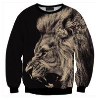 Womens Mens 3D Print Realistic Space Galaxy Animals Hoodie Sweatshirt Top Jumper Sws-0385