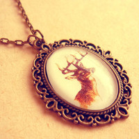 Retro Vintage Rusic Deer Antlers Fall Neckace - Free Shipping - Made to order :)