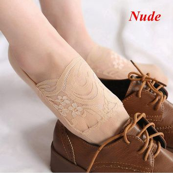 1 Pair Hot Sale Women Summer Antiskid Invisible Liner Cotton Breathable Lace Flower Sheer Color Low Cut Ankle Socks