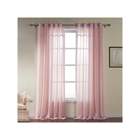 Modern Light Pink Solid Pattern Cotton Sheer Curtains