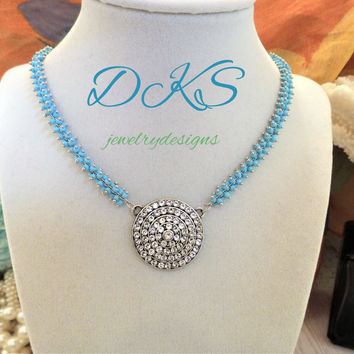 Tropical  Wedding, Swarovski Crystal Necklace, Crystal Medallion, Beach Jewelry, Turquoise Chain, Bridal, DKSJewelrydesigns, FREE SHIPPING