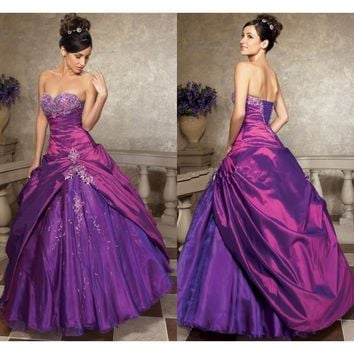 New Fast Shipping Backless Evening Prom Dresses Beaded Lace Up Back Sweetheart Birthday Dresses Long Purple Quinceanera Dresses